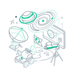 Uncharted planets- isometric black and green line vector