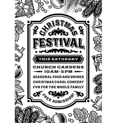 Vintage Christmas Festival Poster Black And White vector image
