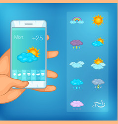 Weather symbols concept cellphone cartoon style vector