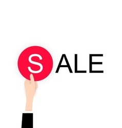 White flat Hand holding sale lable black friday vector image