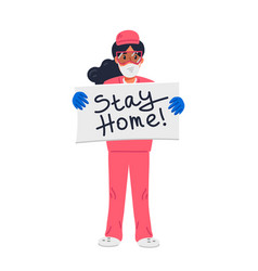 Young nurse in pink scrubs holding sign with stay vector