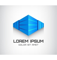 3d abstract cube logo office building vector image vector image