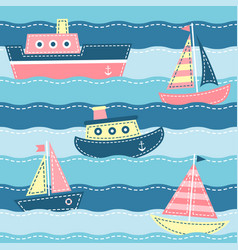 boats on the sea waves vector image vector image