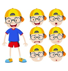 Boy with glasses with many expressions vector image vector image