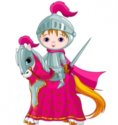 brave knight on the horse vector image vector image