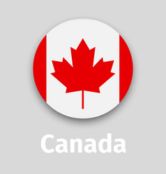 canada flag round icon with shadow vector image