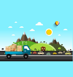 cars on the road natural landscape vector image vector image