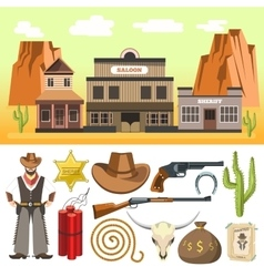 Cowboy icons set and wild west scene with vector image vector image
