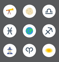 flat icons earth planet scales space and other vector image
