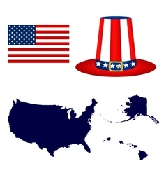 Map of the USA with a hat and flag on white vector image