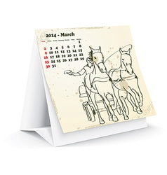 March 2014 desk horse calendar vector