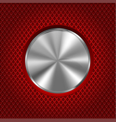 metal round button on red stainless steel vector image vector image