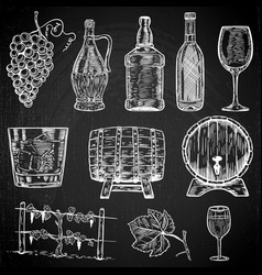 set of wine design element vector image