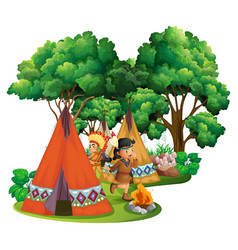 american indians at campsite vector image vector image