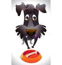Cartoon dog ready for eat vector image