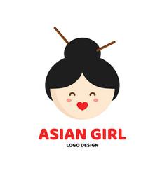 cute beauty asian girl face logo template vector image vector image