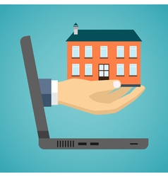 Hand of a businessman is holding a house model vector image