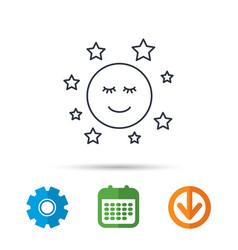 moon and stars icon night or sleep sign vector image