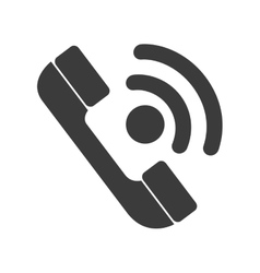 Telephone isolated flat icon in black and white vector image