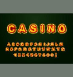 casino font glowing lamp letters retro alphabet vector image vector image