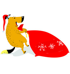 christmas dog character in santas hat the dog is vector image vector image