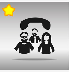 conference call black icon button logo vector image vector image
