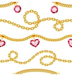 Golden chains with gemstones jewels vector image