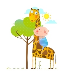 Little boy hugging a giraffe childish friendship vector image vector image