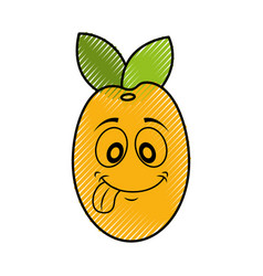 Mango fresh fruit kawaii character vector