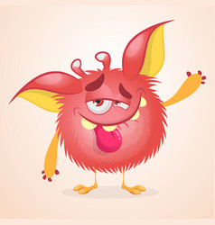pleased funny monster cartoon vector image vector image