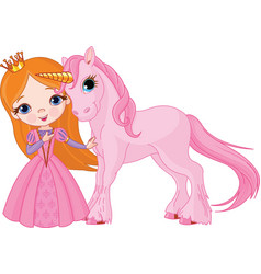 princess and unicorn vector image