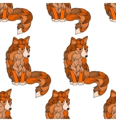Seamless pattern Fox dog or wolf of the waves vector image