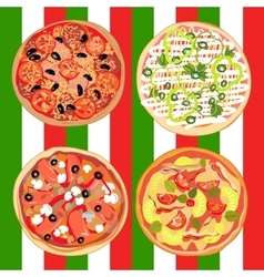 Set pizza on the table with Italian flag vector image vector image
