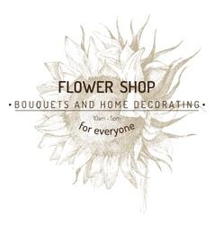 shop emblem over sunflower sketch vector image vector image