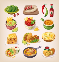 Colorful mexican food vector image vector image