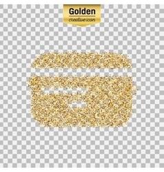 Gold glitter icon of credit card isolated vector image