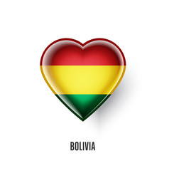 patriotic heart symbol with bolivia flag vector image