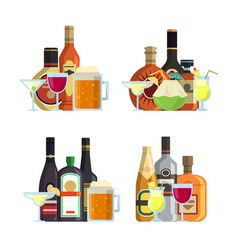 piles of alcoholic drinks in glasses and vector image