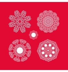 Set of Christmas white snowflakes vector image vector image