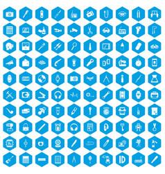 100 portable icons set blue vector