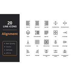 20 alignment line icons vector
