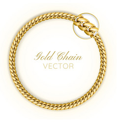 3d realistic gold chain gold chain round vector image