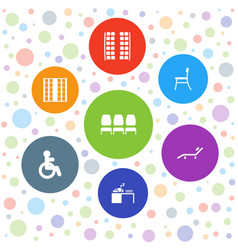 7 chair icons vector image