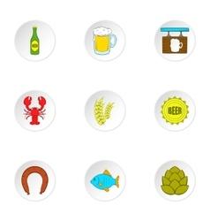 Alcoholic beverage icons set cartoon style vector
