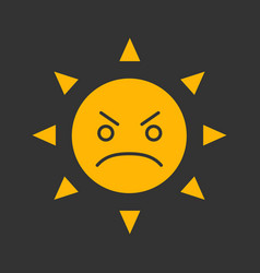 Angry sun smile glyph color icon vector