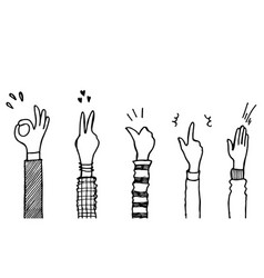 Applause thumbs up gesture on doodle style vector