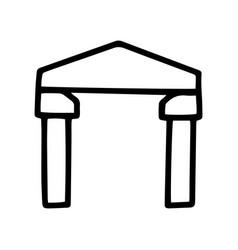 Arch black line doodle icon design vector