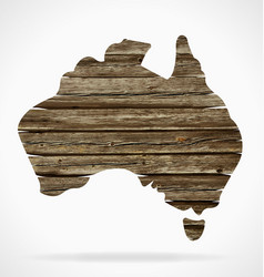 Australia map old rustic timber vector