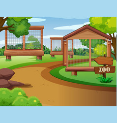 Background scene zoo with empty cages vector