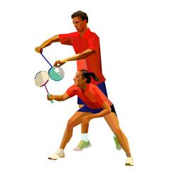Badminton players mixed doubles team man vector